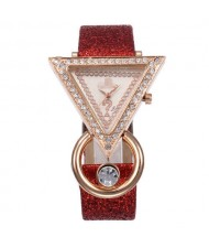 Rhinestone Rimmed Triangle Shape Design Index High Fashion Women Wrist Watch - Red