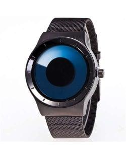 Unique Vortex High Fashion Stainless Steel Wrist Watch - Blue