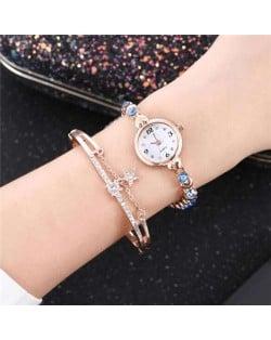 High Fashion Rhinestone Inlaid Simple Arabic Numerals Index Bracelets Combo Women Design Wrist Watch