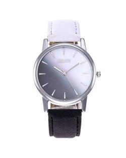 Gradient Colors Index Design High Fashion Wrist Watch - Black