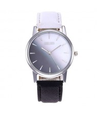 Gradient Colors Index Design High Fashion Wrist Watch - Black