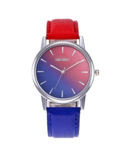Gradient Colors Index Design High Fashion Wrist Watch - Royal Blue