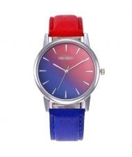 Gradient Colors Index Design High Fashion Wrist Watch - Royal Blue