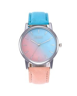 Gradient Colors Index Design High Fashion Wrist Watch - Sky Blue and Pink