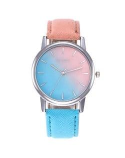 Gradient Colors Index Design High Fashion Wrist Watch - Pink