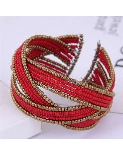 Bohemian Fashion Mini Beads Open-end Ball Shape Women Costume Bracelet - Red