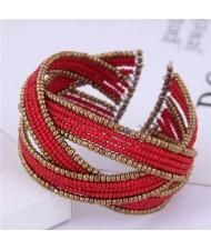 Bohemian Fashion Mini Beads Open-end Ball Shape Women Costume Bracelet - Red