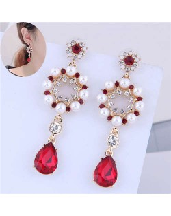 Artificial Pearl Rhinestone Embellished Sweet Floral Design Dangling Waterdrop Women Fashion Earrings