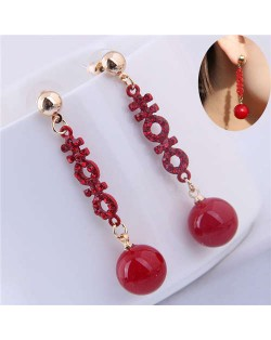 Red Rhinestone Decorated Dangling Bead Ball Design High Fashion Women Earrings