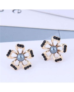 Rhinestone Embellished Hollow Flower Design Women Earrings