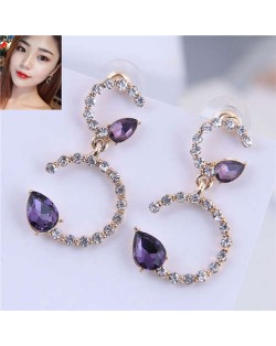Rhinestone Embellished Purple Fashion Elegant Women Earrings