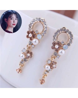 Vintage Baroque Style Rhinestone Flower Cluster Design Women Hoop Earrings