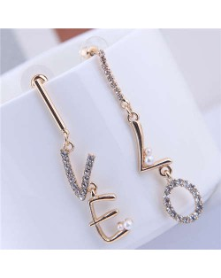 Shining Rhinestone Embellished Love Alphabets Dangling Design Women Earrings