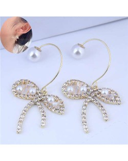 Rhinestone and Pearl Embellished Abstract Butterfly Design Korean Fashion Women Earrings