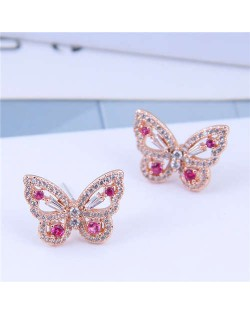 Cubic Zirconia Embellished Graceful Butterfly Design Women Earrings - Rose Gold