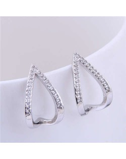 Cubic Zirconia Embellished Korean Fashion Waterdrop Design Sweet Women Fashion Earrings - Silver