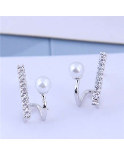 Cubic Zirconia and Pearl Embellished Elegant High Fashion Design Women Earrings - Silver