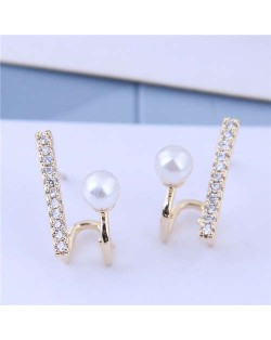 Cubic Zirconia and Pearl Embellished Elegant High Fashion Design Women Earrings - Golden