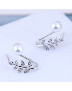 Pearl Inlaid Leaves Design Sweet Korean Fashion Women Statement Earrings - Silver