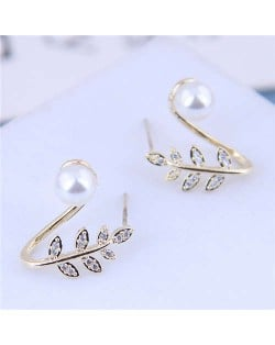 Pearl Inlaid Leaves Design Sweet Korean Fashion Women Statement Earrings - Golden