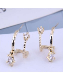 Cubic Zirconia Embellished Unique Shining Design Fashion Women Earrings - Golden