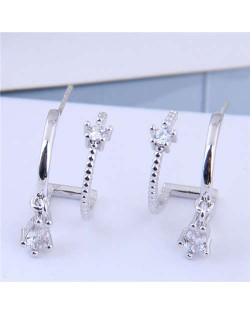 Cubic Zirconia Embellished Unique Shining Design Fashion Women Earrings - Silver