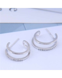 Cubic Zirconia Inlaid Semi-circle Korean Fashion Women Earrings - Silver