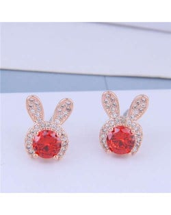 Cubic Zirconia Embellished Rabbit Head Cute Design High Fashion Women Earrings - Rose Gold