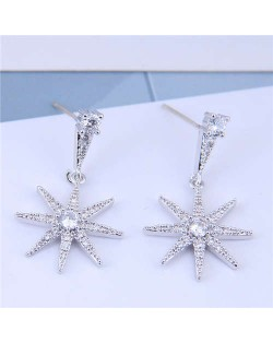 Cubic Zirconia Embellished Shining Star Dangling Design High Fashion Women Earrings - Silver