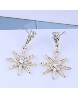 Cubic Zirconia Embellished Shining Star Dangling Design High Fashion Women Earrings - Gold