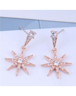 Cubic Zirconia Embellished Shining Star Dangling Design High Fashion Women Earrings - Rose Gold