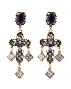 Rhinestone Embellished Vintage Style Bold Cross Women Alloy Earrings - Golden