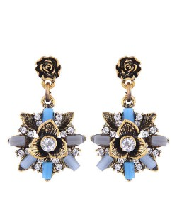 Rhinestone Decorated Vintage Flower Design High Fashion Women Earrings - Golden