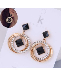 Oil-spot Glazed Black Square Inlaid Rhinestone Golden Hoops Women Earrings