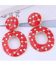 Rhinestone Embellished Oil-spot Glazed Hoop Design Women Costume Earrings - Red