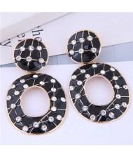 Rhinestone Embellished Oil-spot Glazed Hoop Design Women Costume Earrings - Black