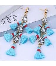 Cotton Threads Tassel Rhinestone Design High Fashion Women Statement Earrings - Blue