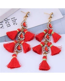 Cotton Threads Tassel Rhinestone Design High Fashion Women Statement Earrings - Red