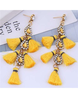 Cotton Threads Tassel Rhinestone Design High Fashion Women Statement Earrings - Yellow
