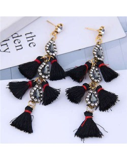 Cotton Threads Tassel Rhinestone Design High Fashion Women Statement Earrings - Black