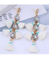 Cotton Threads Tassel Rhinestone Design High Fashion Women Statement Earrings - White