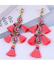 Cotton Threads Tassel Rhinestone Design High Fashion Women Statement Earrings - Watermelon