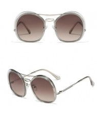 6 Colors Available Irregular Round Frame High Fashion Women Sunglasses