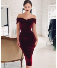 V-neck Graceful Fashion Evening One-piece Women Dress - Wine Red