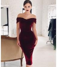 V-neck Graceful Fashion Evening One-piece Women Dress - Wine Red