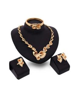 Rhinestone Embellished Elegant Swirling Design 4pcs Fashion Alloy Jewelry Set