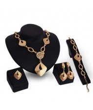Irregular Squares Bold Fashion Golden 4pcs Alloy Women Jewelry Set