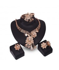 Elegant Flowers Bold Design Golden Alloy 4pcs Jewelry Set