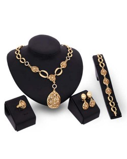 Rhinestone Inlaid Hollow Waterdrop Pendants Luxurious Design 4pcs Jewelry Set