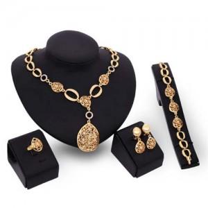 Rhinestone Inlaid Hollow Waterdrop Pendants Luxurious Design 4pcs Jewelry Set